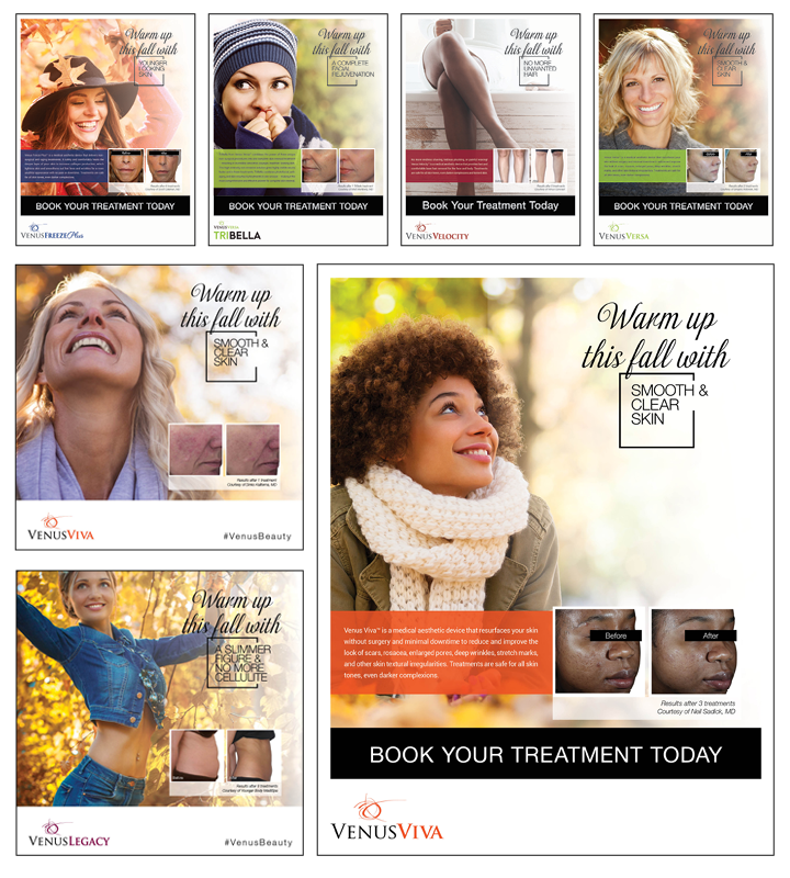 4 Essential Tips for a Successful Fall Medical Aesthetics Marketing Campaign Collage
